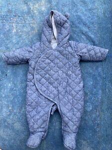 Baby-Gap-Sz-3-6-Months-Denim-Blue-Quilted-Romper-Jumpsuit-Coat