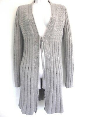 Long cardigan sweater S Wool Mohair Light brown Italy Tie Beige Duster Coat