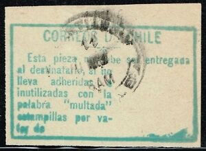 CHILE-1908-POSTAGE-DUE-OFFICIAL-ADHESIVE-LABEL-STAMP-MULTA-USED-2-scarce-item