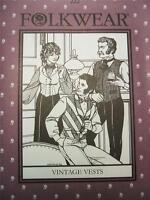 Folkwear 222 Vintage Vests Victorian Men Women Steampunk Sewing Costume Pattern