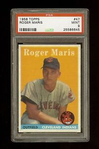 Details About 1958 Topps Roger Maris Rookie Rc 47 Psa 9 Mint Hof Premium Copy