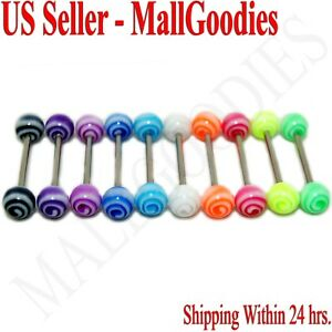 W066 Acrylic Tongue Rings Barbell Spiral Spinning Swirls Design Colors 10pcs