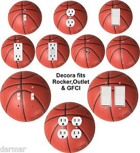 Coloriffic-Basketball-wall-plate-Switch-Outlet-Decora-toggle-blank-Cable-sport