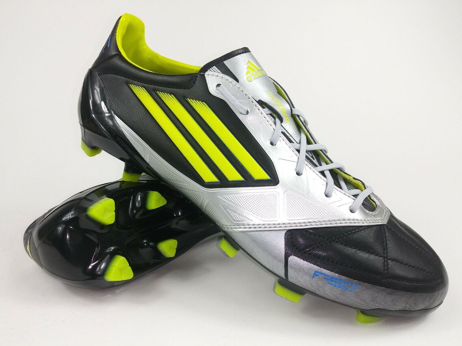 Adidas Hombre Raro F50 Adidas TRX Fg Cuero V21434 Negro Plata Tacos botas
