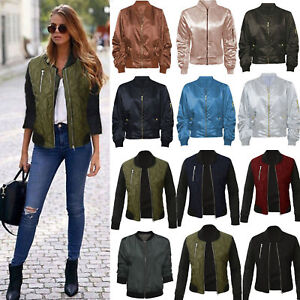 Women-Classic-Padded-Bomber-Jacket-Vintage-Zip-Biker-Coat-Tops-Stylish-Outerwear