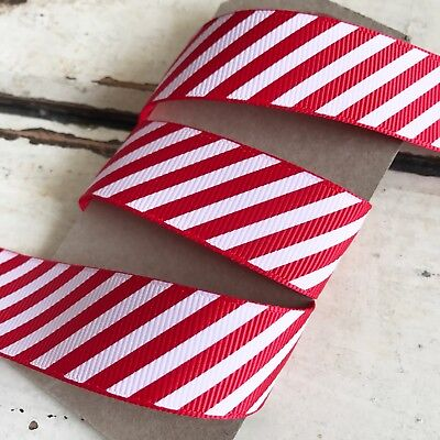 Red and White Candy Cane Stripe Grosgrain Ribbon 22mm 1M or *SAVE* with 25M Roll