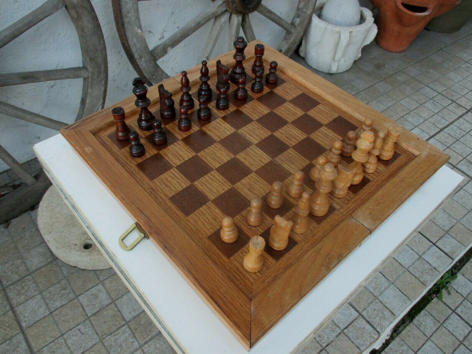 Genuine Vintage All in Oak Wooden Rare Board Folding Chess Game Wood Pieces