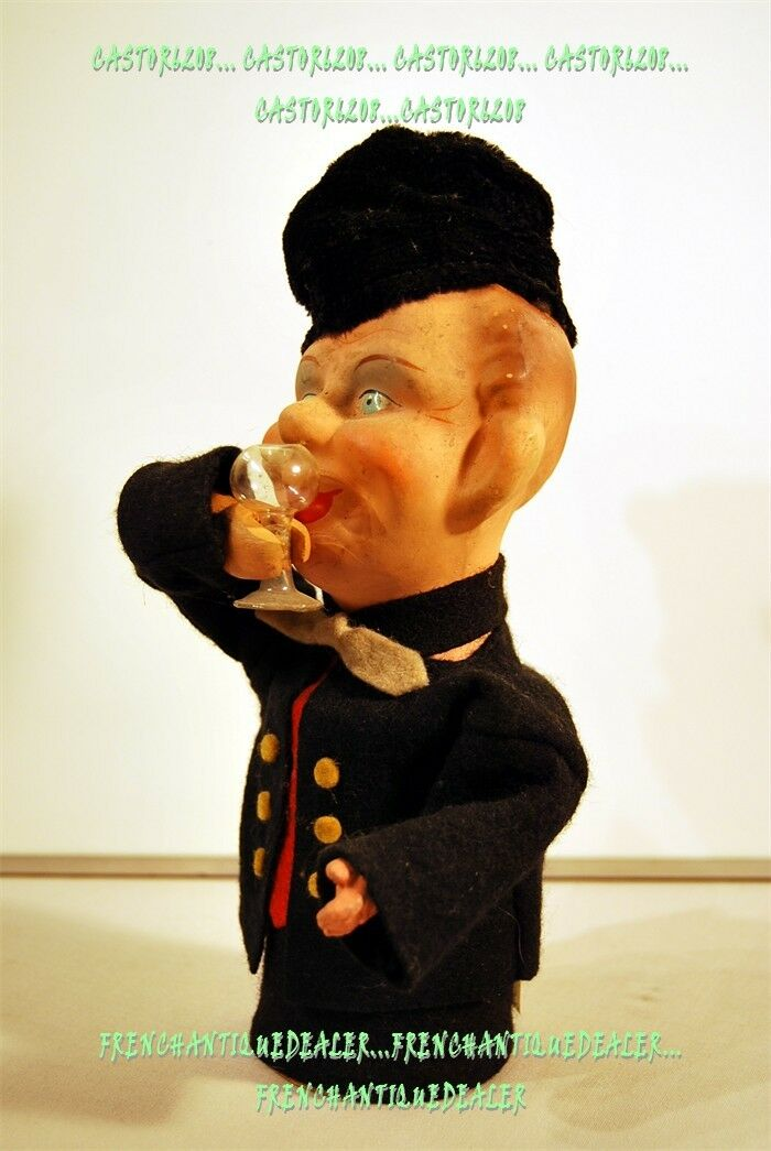 Doll Figurine Drinker German Wood & Composition Toy Novelty & C° W Germany