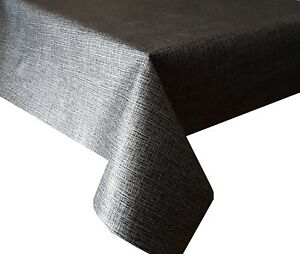 Image Is Loading PVC TABLE CLOTH LINEN LOOK CHARCOAL SILVER METALLIC
