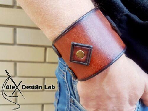 Wide leather cuff Men/'s Johnny Depp style bracelet extra class genuine wristband