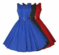 Vintage 40s 50s Polka Dot Button Detail Full Flared Rockabilly Dress 8 - 18