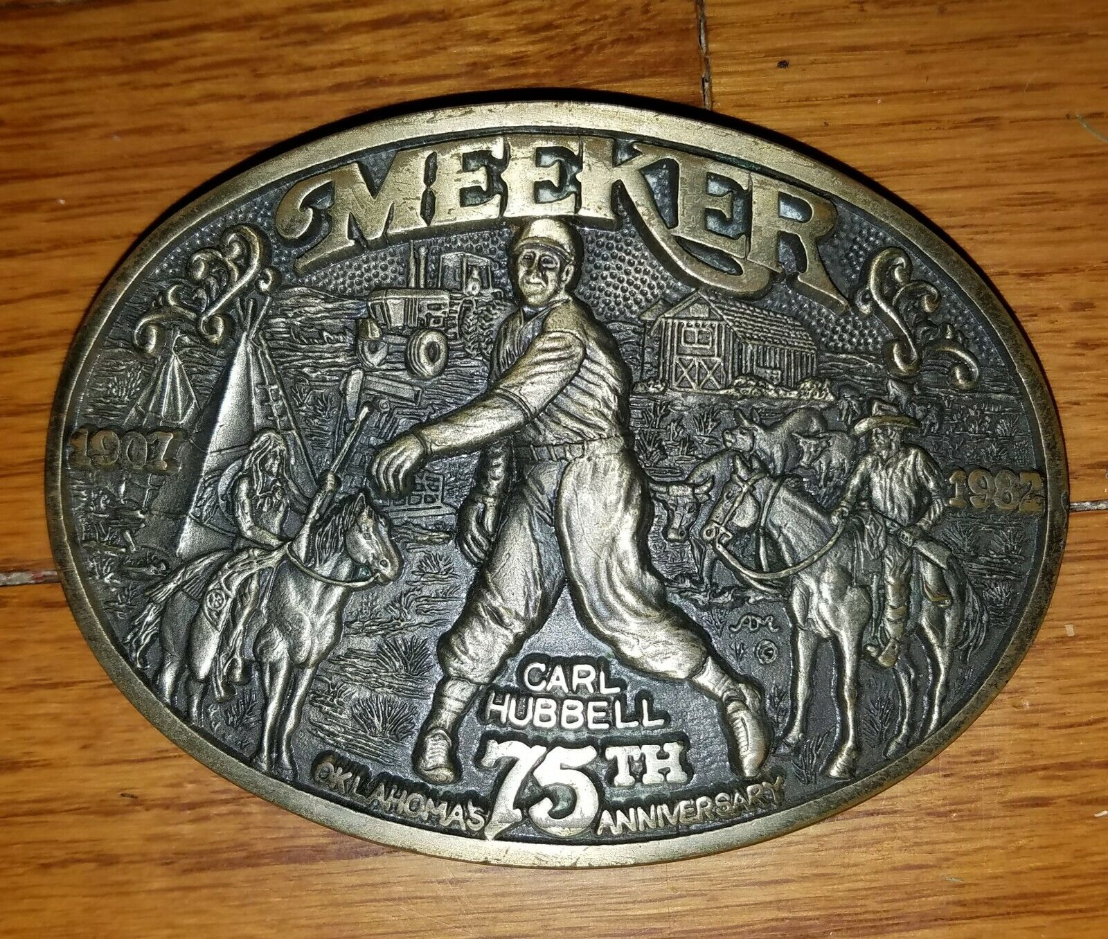 Meeker Oklahoma 75th anniversary 1982 brass Belt Buckle limited carl hubbell 480