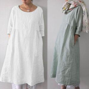 ZANZEA-8-24-Women-3-4-Sleeve-Long-Midi-Sundress-Kaftan-Caftan-Plus-Size-Dress