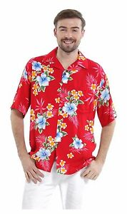 Men-Aloha-Shirt-Cruise-Tropical-Luau-Beach-Hawaiian-Hawaii-Casual-Red-Hibiscus