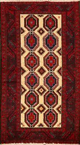 Tribal-Geometric-Balouch-Afghan-Hand-Knotted-Oriental-Area-Rug-Nomad-Carpet-3x6