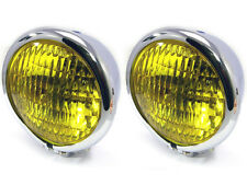 """4.75"""" 120mm CHROME Bates Style E-marked Yellow Metal Headlight for Classic Cars"""
