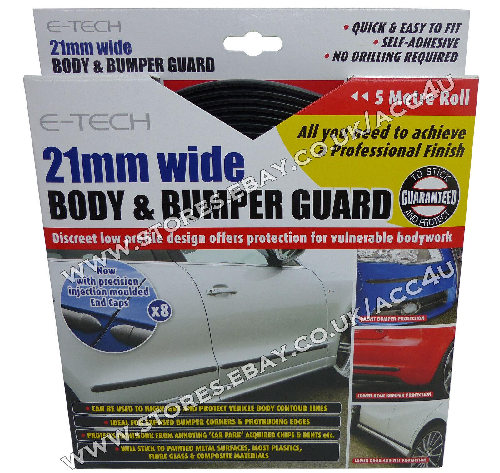 E-Tech 21mm 5M Schwarz Auto Karosserie & & & Stoßstange Schutz Zierleiste + Endkappe e982f4