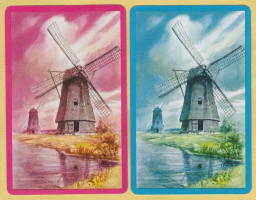 2 Single VINTAGE Swap//Playing Cards DUTCH WINDMILL CANAL SCENE Pink//Blue