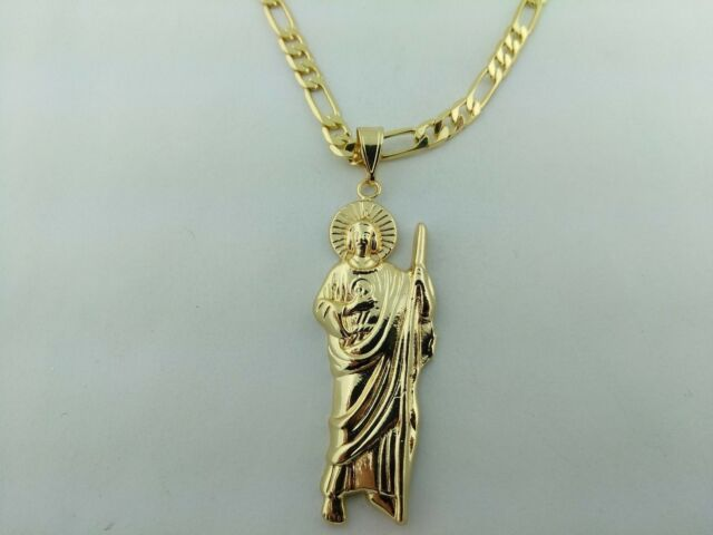 Saint jude pendant san judas tadeo figaro necklace gold plated ebay saint jude pendant san judas tadeo figaro or rope necklace gold plated mozeypictures Gallery