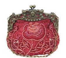 Vintage Style Dark Red Satin Floral Hand Beaded Evening Bag Handbag Purse