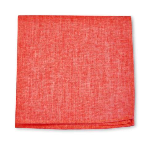 Frederick Thomas coral red plain linen pocket square handkerchief FT3407