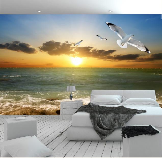 3D Sunset Bird 4024 Wallpaper Murals Wall Print Wallpaper Mural AJ WALL UK Lemon