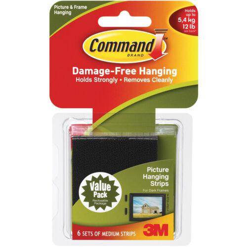 Command Medium Picture Hanging Strips-Black 6 Sets//Pkg