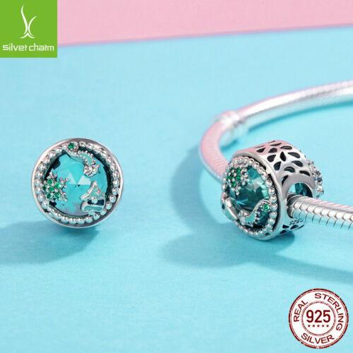 European sterling Silver CZ Charm Beads Fits S925 Charm Bracelet /& Chain Women