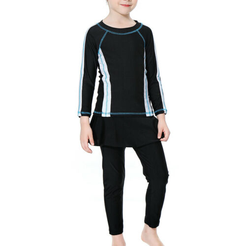 Kids Muslim Full Cover Costumes Girls Modest Burkini Swimwear Beachwear Bathing