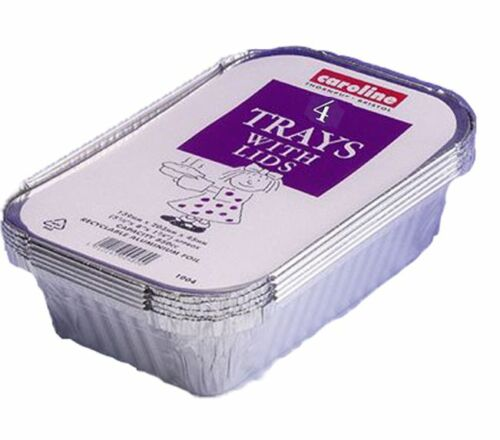 12x aluminium plat de cuisson de plateaux repas chauds curry récipient avec couvercle 04