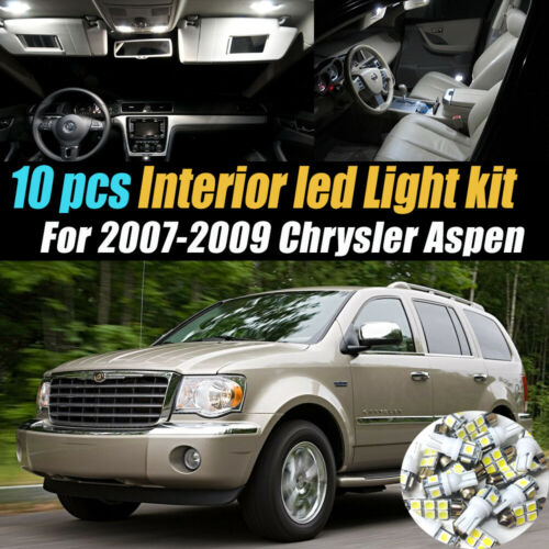 10Pc Super White Car Interior LED Light Bulb Kit for 2007-2009 Chrysler Aspen