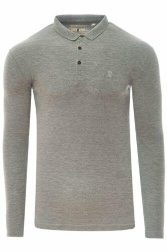 Mens Soulstar Long Sleeve Polo Shirt Pique Smart Casual Thin Knit Jumper Sweater
