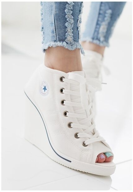 MAX femmes Wedges chaussures Ankle bottes Platforms Lace up baskets Zip Open Toe