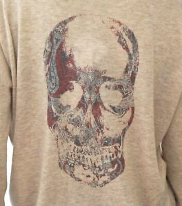ZADIG-amp-VOLTAIRE-Celsa-New-Bis-Beige-Cashmere-Skull-Sweater-M-NEW-WITH-TAGS