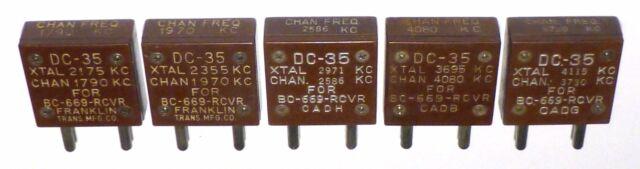 5 quartz DC35 US de réception pour BC-669 (SCR-543)  testés 100% OK - rare