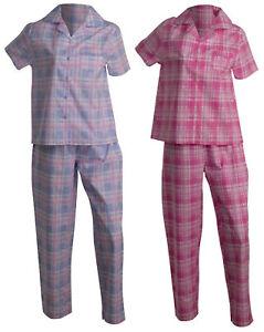 2a1bf6af5d508 Chargement de l'image en cours Femmes-Slenderella-Ecossais-Pyjama -Leger-Boutonne-Haut-Bas-