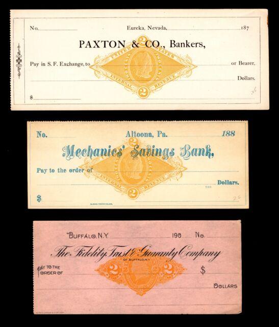 #RN-X7 & RN-G1  2c Orange 1870s Revenue Stamp on Unused Bank Checks 3 items