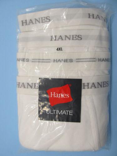 Hanes Ultimate Regular Underwear White Soft Cotton BRIEFS 4-Pack Seconds NIP