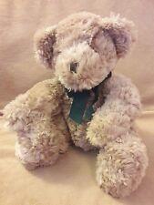 """RUSS BERRIE DEXTER Beige tan TEDDY BEAR green bow Plush stuffed animal toy 10"""""""