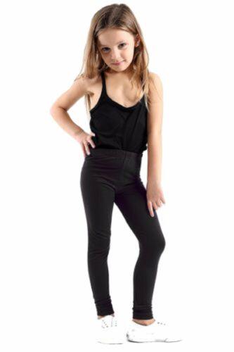 Girls Kids Plain Cotton Thick Long Length Leggings Age 1-13 Black