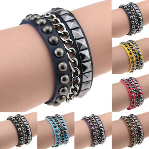 Unisex-Punk-Woman-Men-Multi-layer-Leather-Rivet-Steel-Wrist-Band-Bracelet-Bangle