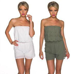Overall-donna-tuta-intera-tutina-fascia-pantaloncino-shorts-ricamo-sangallo-nuov