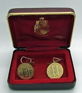 Royal-Canadian-Mint-Cufflinks-Gold-Tone-Canada-Men-039-s-Jewelry-Gift-Coin-Collector