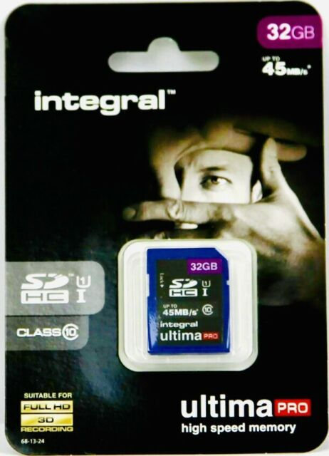 32 Go Integral Ultima Pro SDHC 45MB/sec CL10 UHS-1 High-Speed Carte Mémoire NEUF!