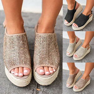 Women-039-s-Wedge-Heels-Espadrille-Flatform-Woven-Sandals-Ladies-Peep-Toe-Shoes-Size