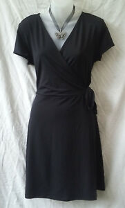 Target-Sz-16-XL-Wrap-Dress-Black-Stretch-Above-Knee-Cap-Slv-Side-Tie-Work-Office