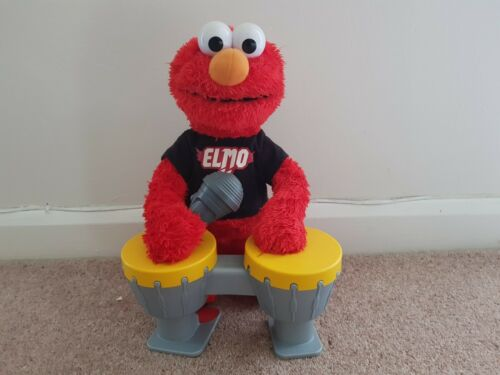 LARGE LETS ROCK MUSICAL ELMO SINGS /& PLAYS THE DRUMS super condition rare toy