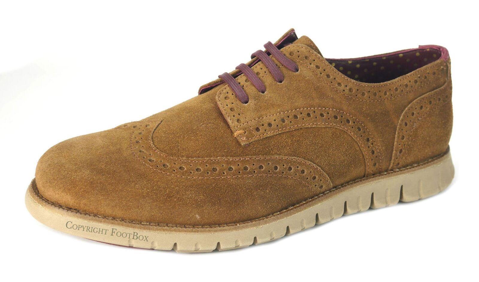 London Cuero Calado Gatz Mens Suede Cuero Calado Casual Zapatos Derby Ligero Bronceado