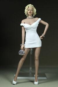 1-6-Skala-Marilyn-Monroe-kurzes-weisses-Kleid-Mini-Rock-F-12-034-weibliche-Figur