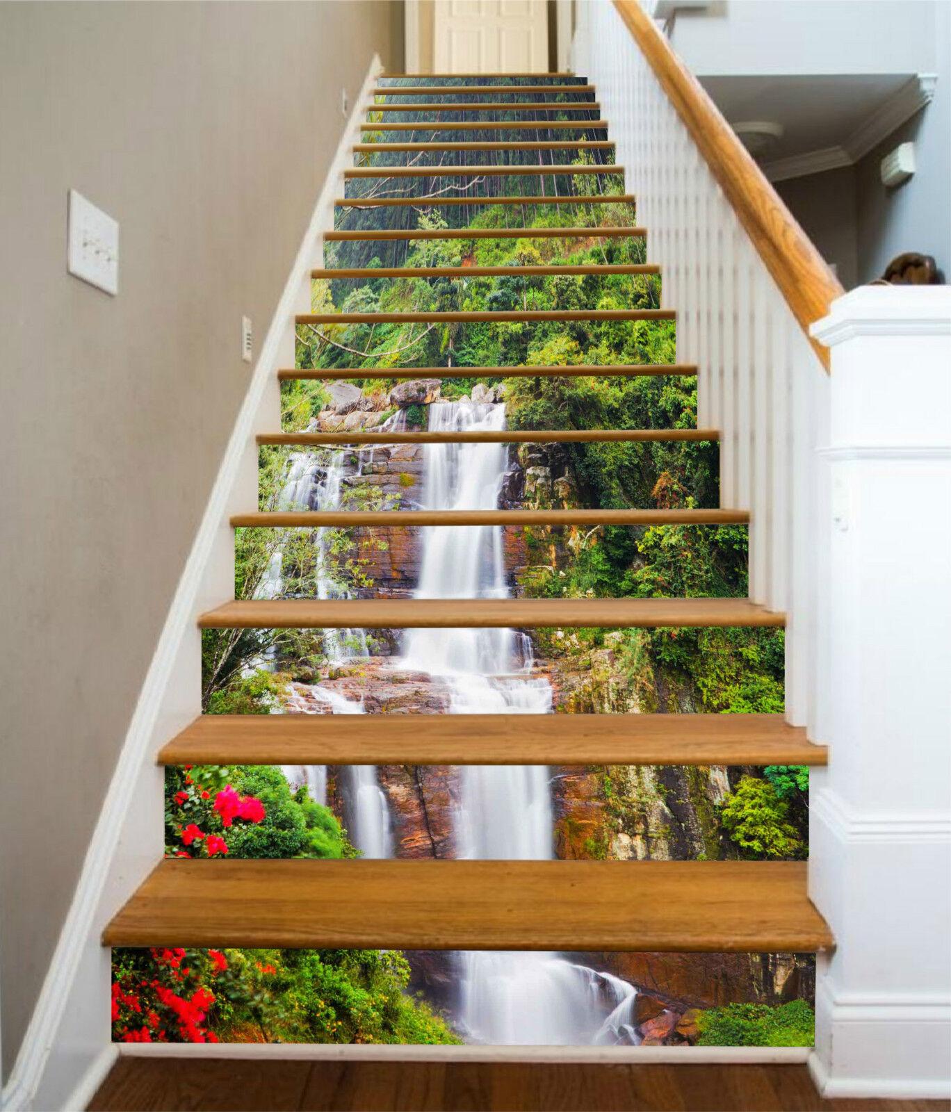 3D Wald Bach 323 Stair Risers Dekoration Fototapete Vinyl Aufkleber Tapete DE
